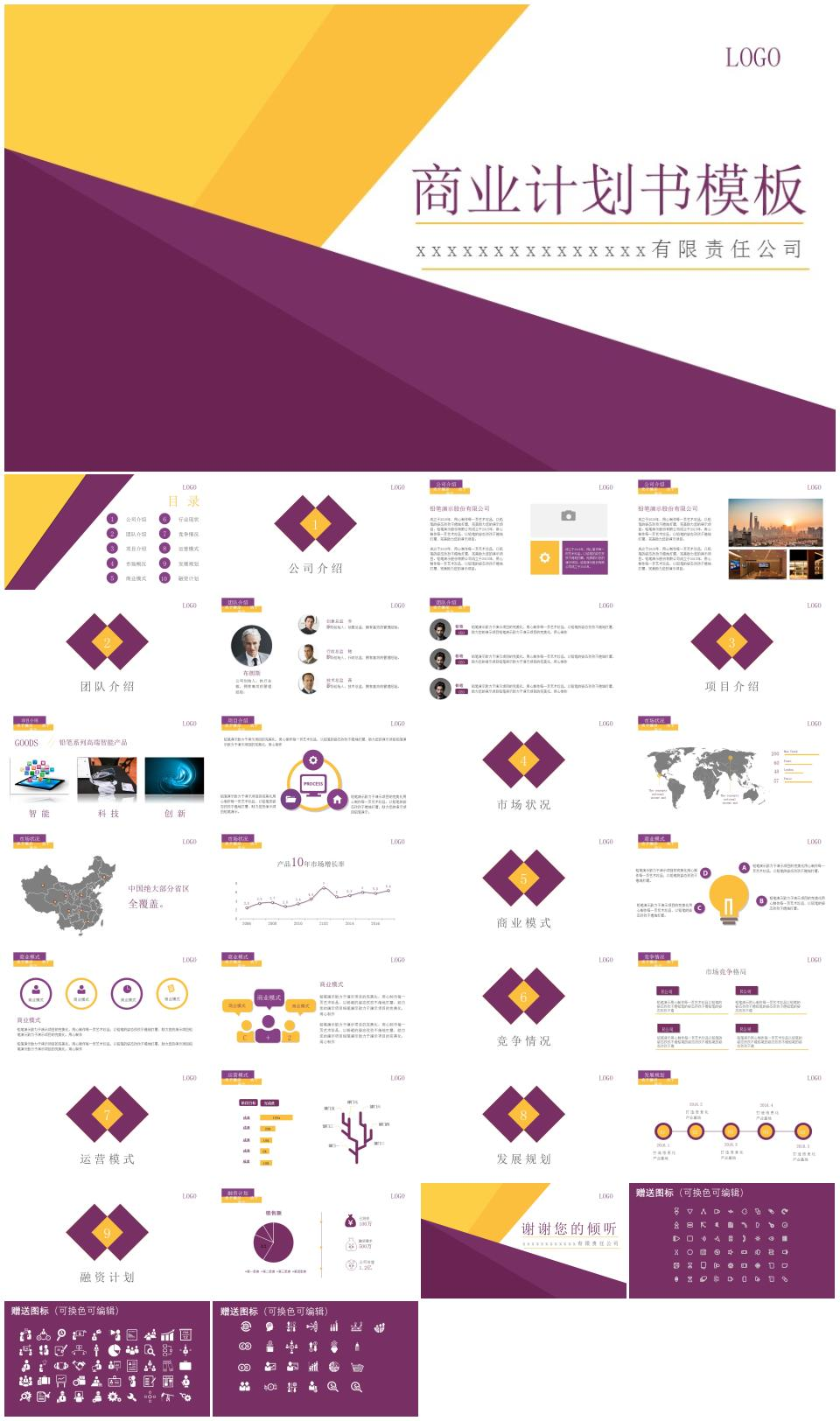 紫色风格商业计划书模板PPT模板